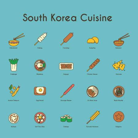 set van Zuid-Koreaanse keuken pictogrammen Stock Illustratie
