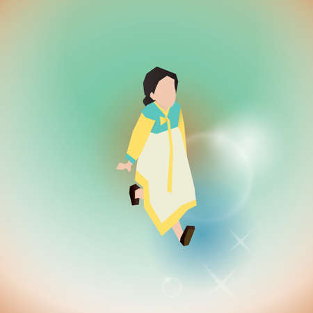 girl in traditional korean attire Illustration