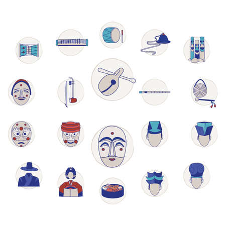 collection of south korean items Ilustracja