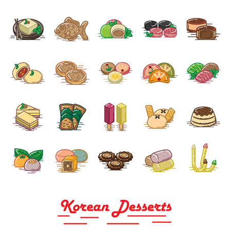 set of korean desserts icons