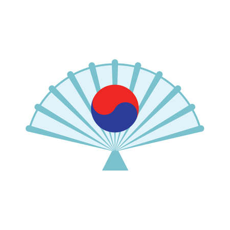 south korean folding fan Illustration