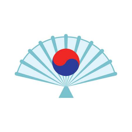 Ventilatore pieghevole sud-coreano Archivio Fotografico - 79156865
