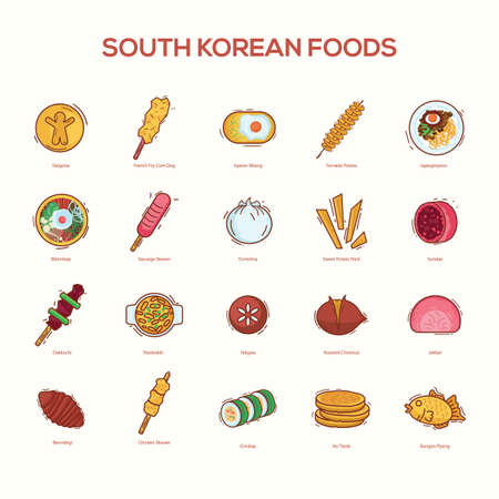 set of south korean foods