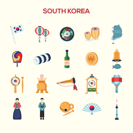 collection of south korea icons Vettoriali