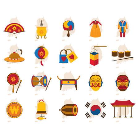 Set di icone della Corea del Sud Archivio Fotografico - 79156914