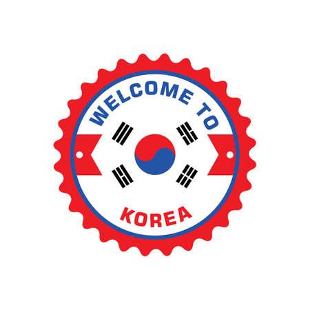 welcome to korea label Illusztráció