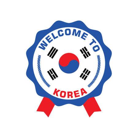 welcome to korea label Illustration