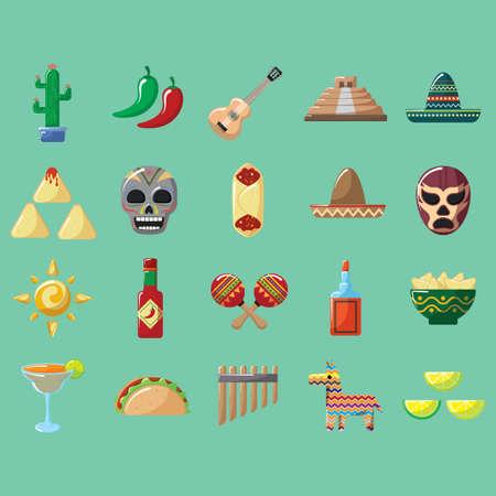 멕시코 아이콘 세트