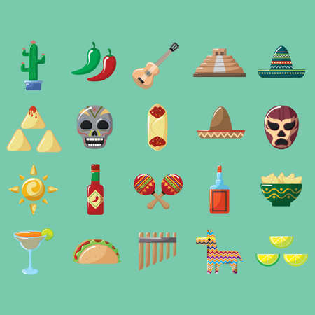 set of mexico icons Ilustrace