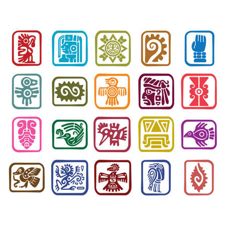 Conjunto de iconos de símbolos aztecas Foto de archivo - 79157437