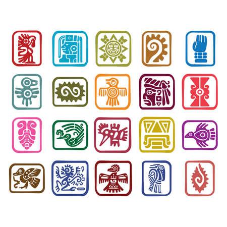 ensemble d & # 39 ; icônes de symboles aztèque