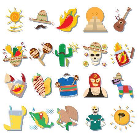 Set of mexico icons 向量圖像