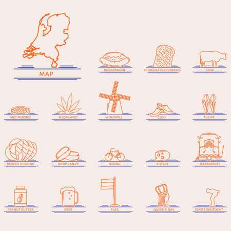 set of netherlands icons Ilustracja