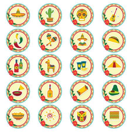set of mexico icons Ilustrace