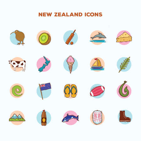 Conjunto de iconos de Nueva Zelanda