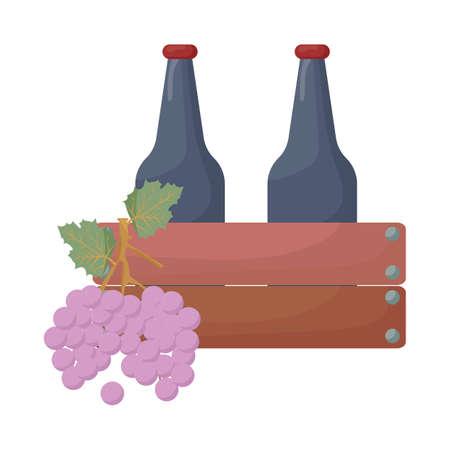 druiven en wijnflessen in kist Stock Illustratie