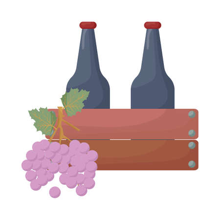 grape and wine bottles in crate
