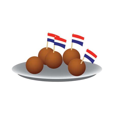 netherlands meatball 向量圖像
