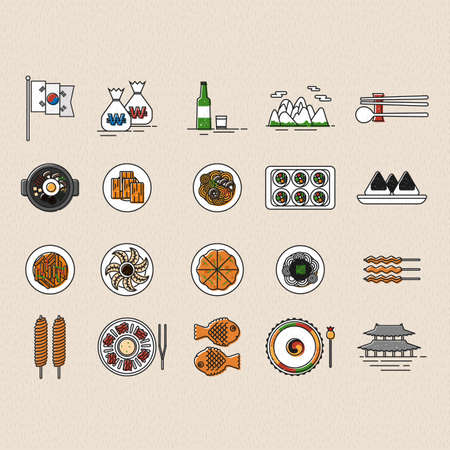 set of korea icons