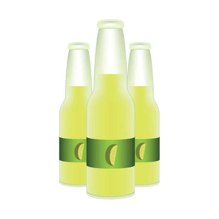 bottles of lime juice Illustration