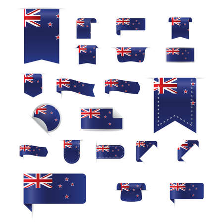 set of new zealand bookmark and sticker icons