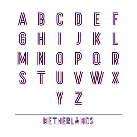 set of netherlands ribbon alphabets Illustration