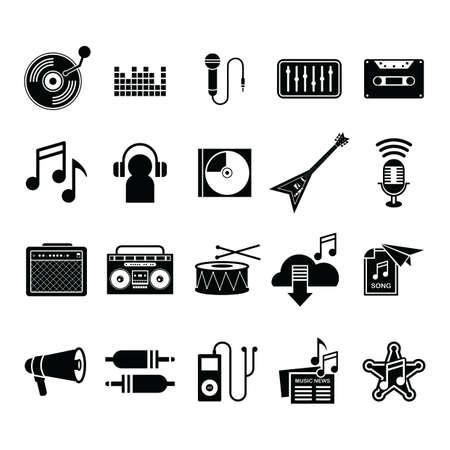音楽アイコンのコレクション  イラスト・ベクター素材