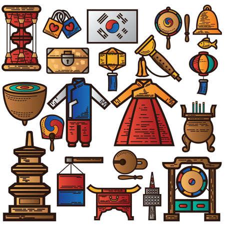 set of traditional korea icons