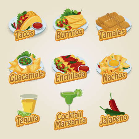 enchilada: set of mexican food and beverage icons