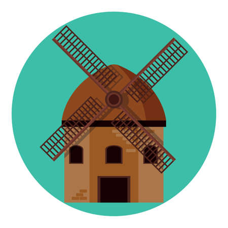 windmill kinderdijk Ilustração