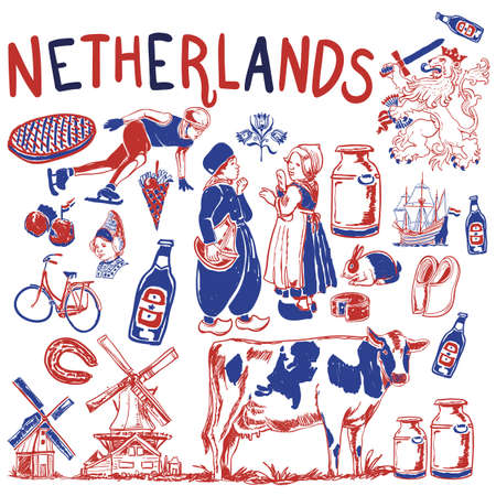 Collection d'icônes des Pays-Bas Banque d'images - 79186680