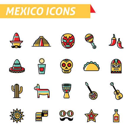 traje mexicano: set of mexico icons Vectores
