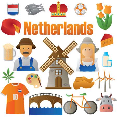 オランダのアイコンのセット  イラスト・ベクター素材
