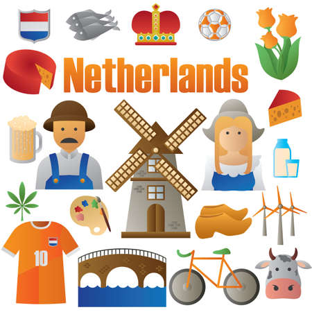 set of netherlands icons 向量圖像