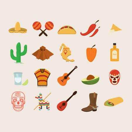 pinata: set of mexico icons Illustration