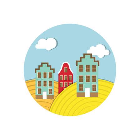 traditional dutch buildings Ilustracja