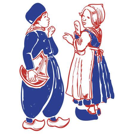 dutch man and woman Ilustrace