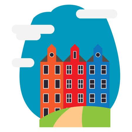 traditional dutch buildings in amsterdam 向量圖像