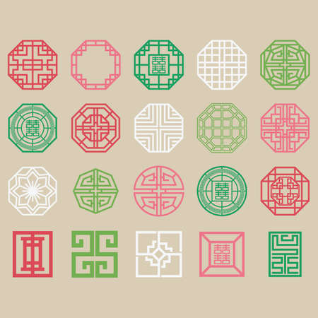set of traditional korean patterns Imagens - 79187070