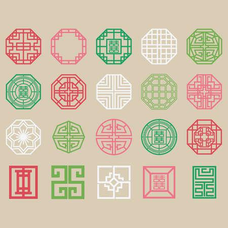 set van traditionele Koreaanse patronen