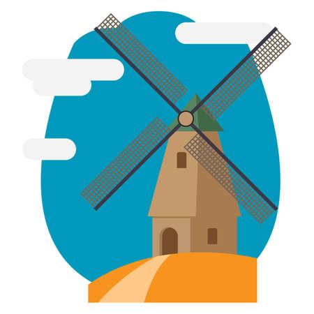 windmill kinderdijk 向量圖像