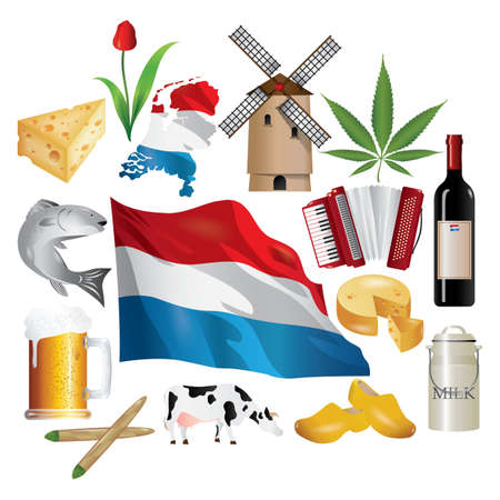 collection of netherlands icon Illustration