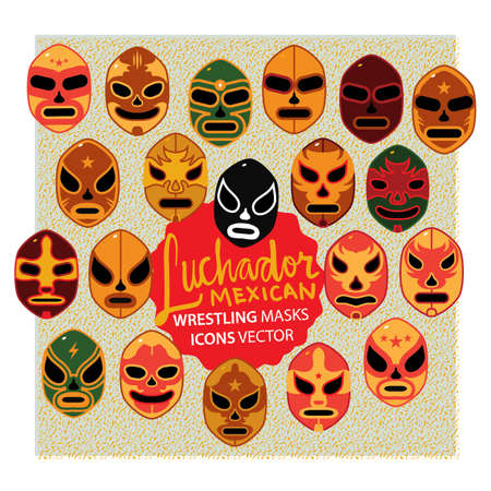 set of lucha libre icons