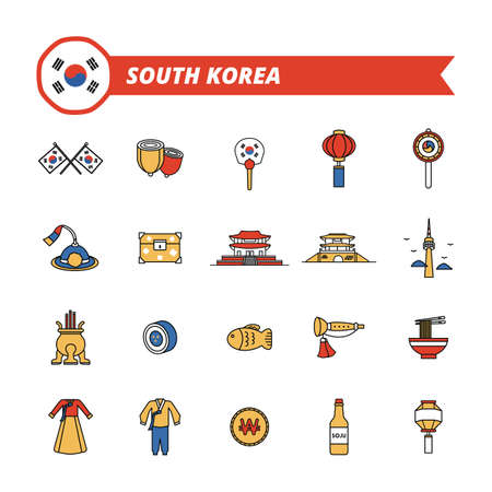 collection of south korea icons Stock Illustratie