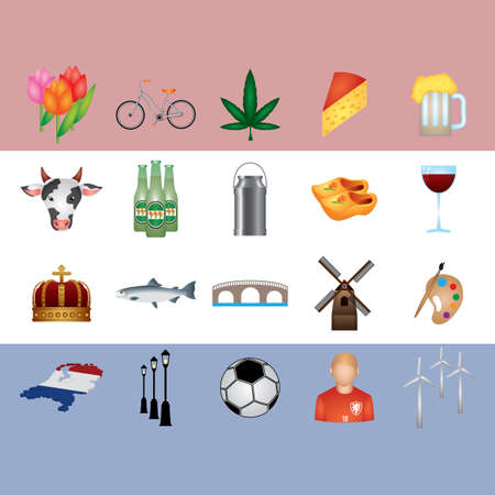 collection of netherlands icons Illustration