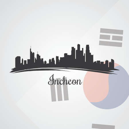 incheon skyline silhouet Stock Illustratie