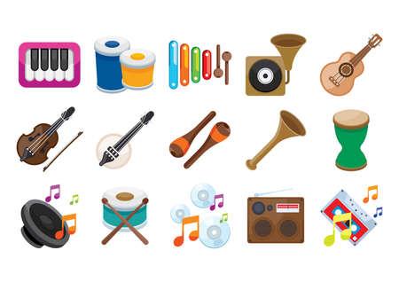 楽器のコレクション  イラスト・ベクター素材