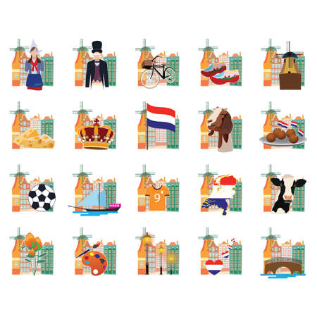 Verzameling nederland iconen Stock Illustratie