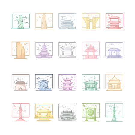 collection of south korean famous landmarks Illustration