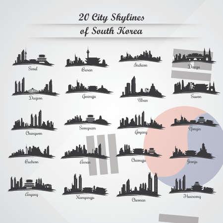 韓国の 20 都市のスカイライン
